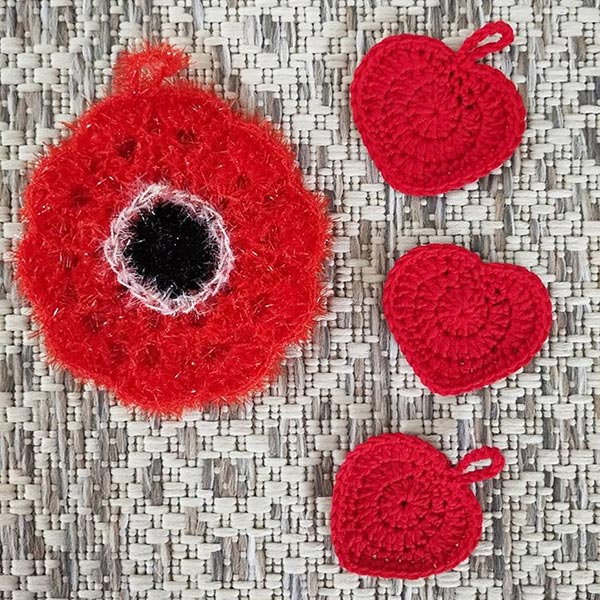 DIY crochet CAL tawashi fleur coeur coquelicot laboutiquedemelimelo thalicreations