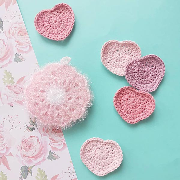 DIY crochet CAL tawashi disques démaquillants coeurs thalicreations eponge laboutiquedemelimelo