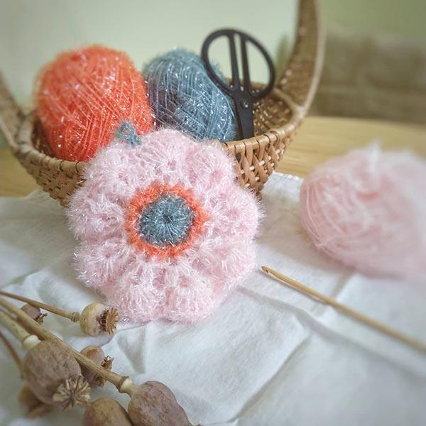 DIY crochet CAL tawashi eponge fleur laboutiquedemelimelo