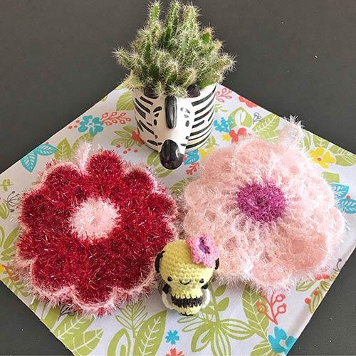 DIY crochet tawashi eponge fleurs abeille flokawaii974