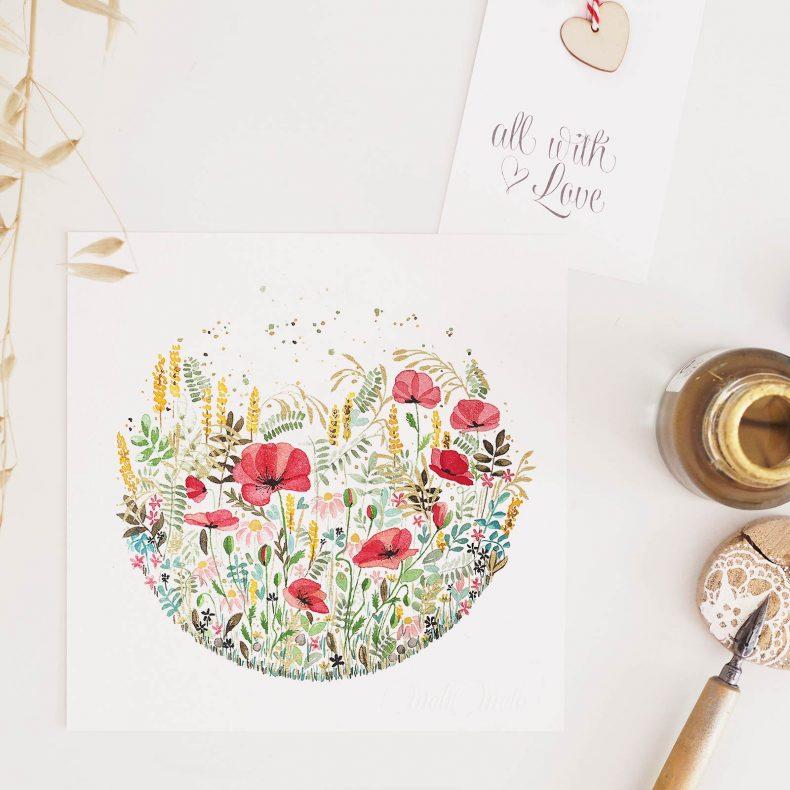 carte-aquarelle-coquelicots-herbes-folles-laboutiquedemelimelo