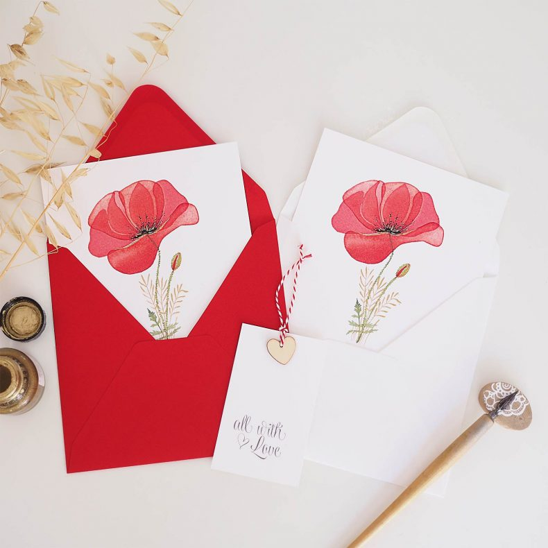 carte-coquelicot-aquarelle-windsorandnewton-or-gold-enveloppe-carree-laboutiquedemelimelo