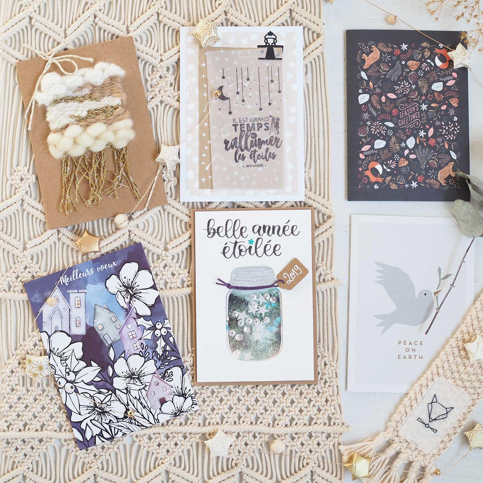 carte voeux 2019 artisanat craft woolandmi blackconfetti aliegraphie elisa64