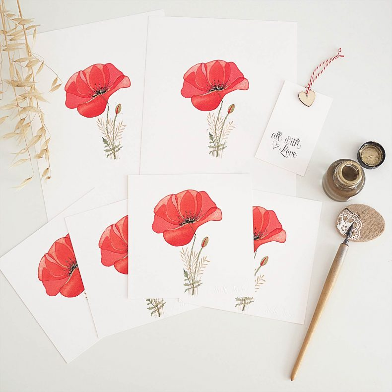 cartes-coquelicot-aquarelle-or-windsorandnewton-gold-laboutiquedemelimelo