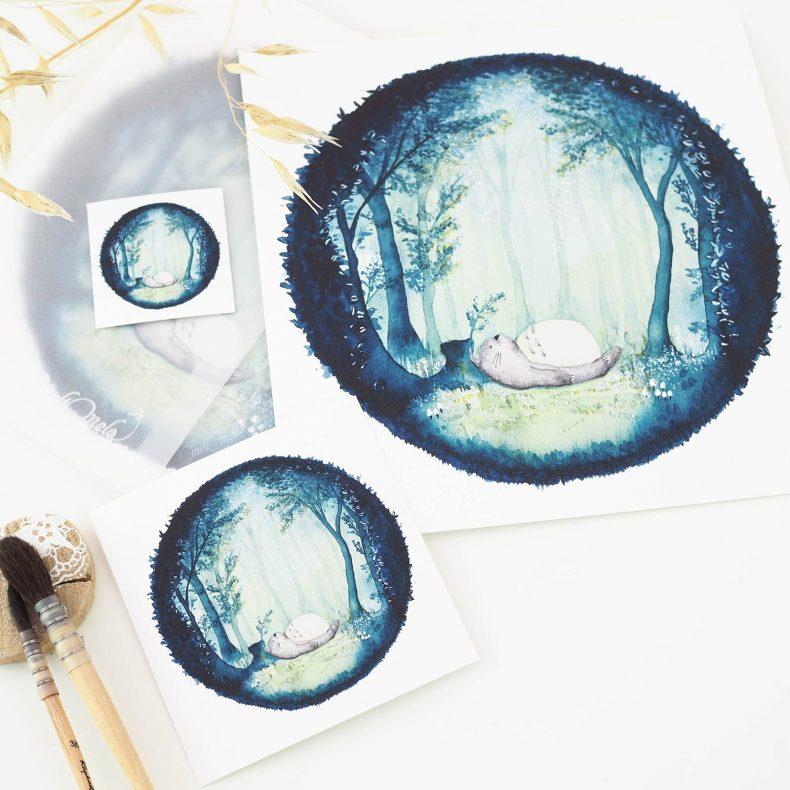 cartes-forest-indigo-totoro-aquarelle-watercolor-laboutiquedemelimelo