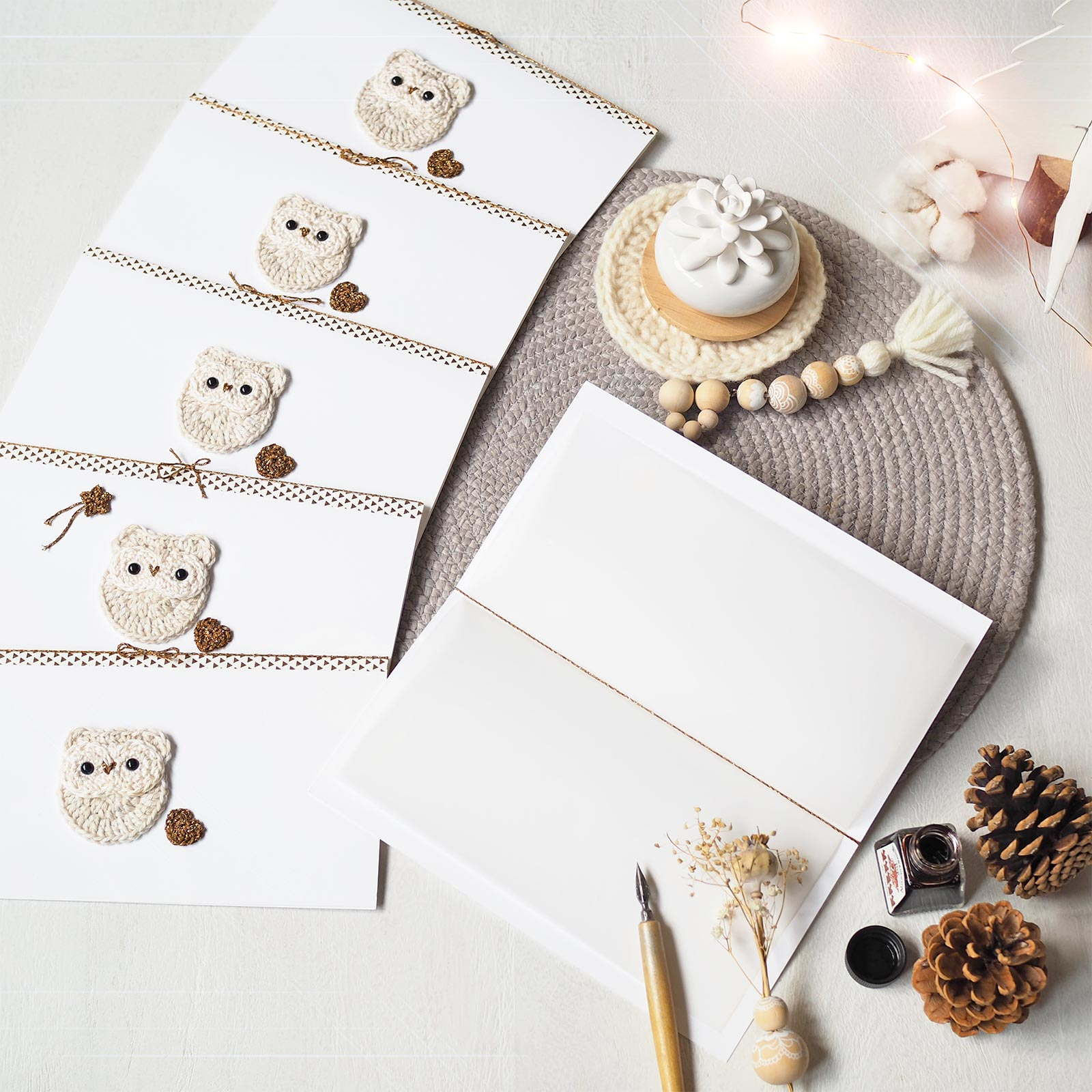 cartes voeux crochet hedwige chouette neige snowy owl christmas gift laboutiquedemelimelo