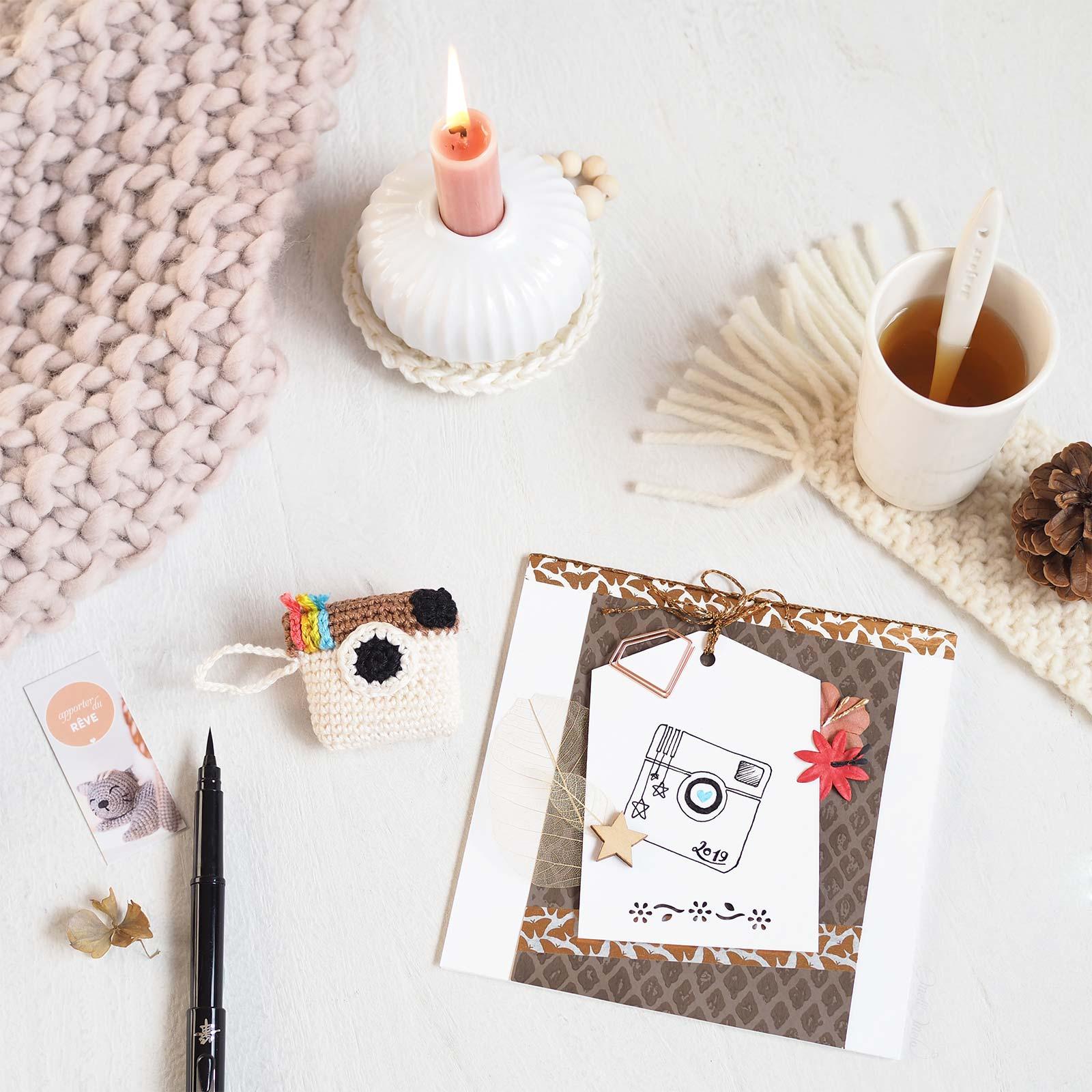 cartes voeux scrapbooking crochet thème instagram porte clé laboutiquedemelimelo