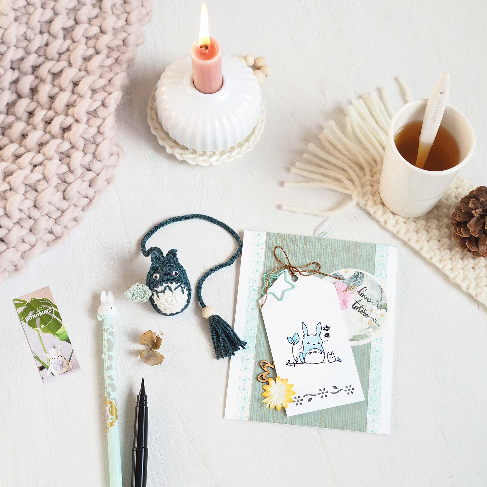 cartes voeux scrapbooking crochet thème Totoro marquepages grigri laboutiquedemelimelo