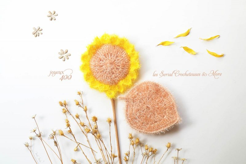 célébration The Serial Crocheteuses and More éponges tawashi tournesol feuille crochet laboutiquedemelimelo