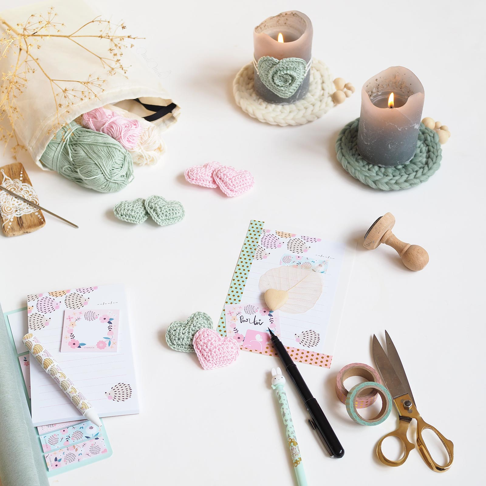 coeur crochet couleurs pastel rose mint craft laboutiquedemelimelo