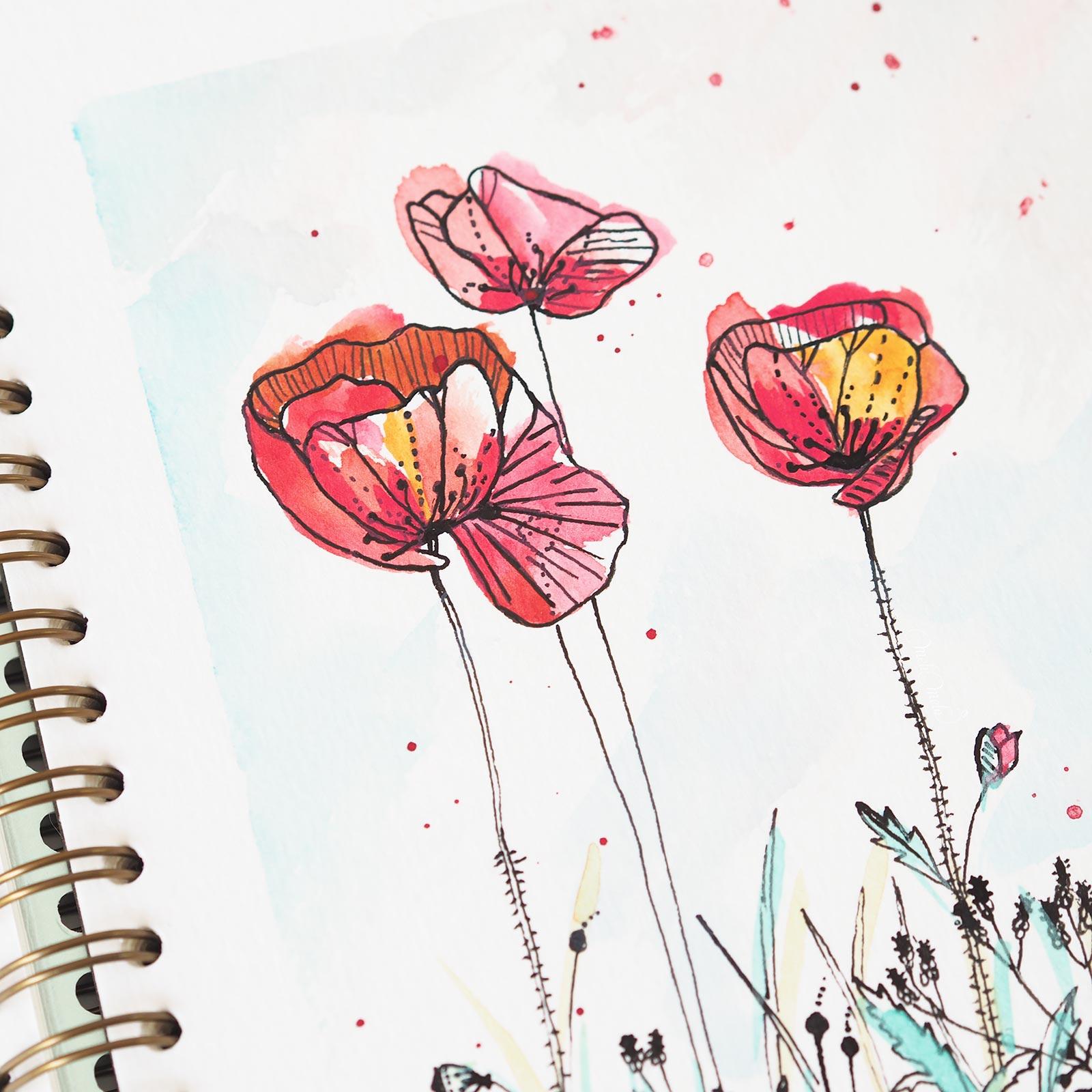 poppies coquelicots-aquarelle-watercolor-pastel-dreams-confections-prima-laboutiquedemelimelo
