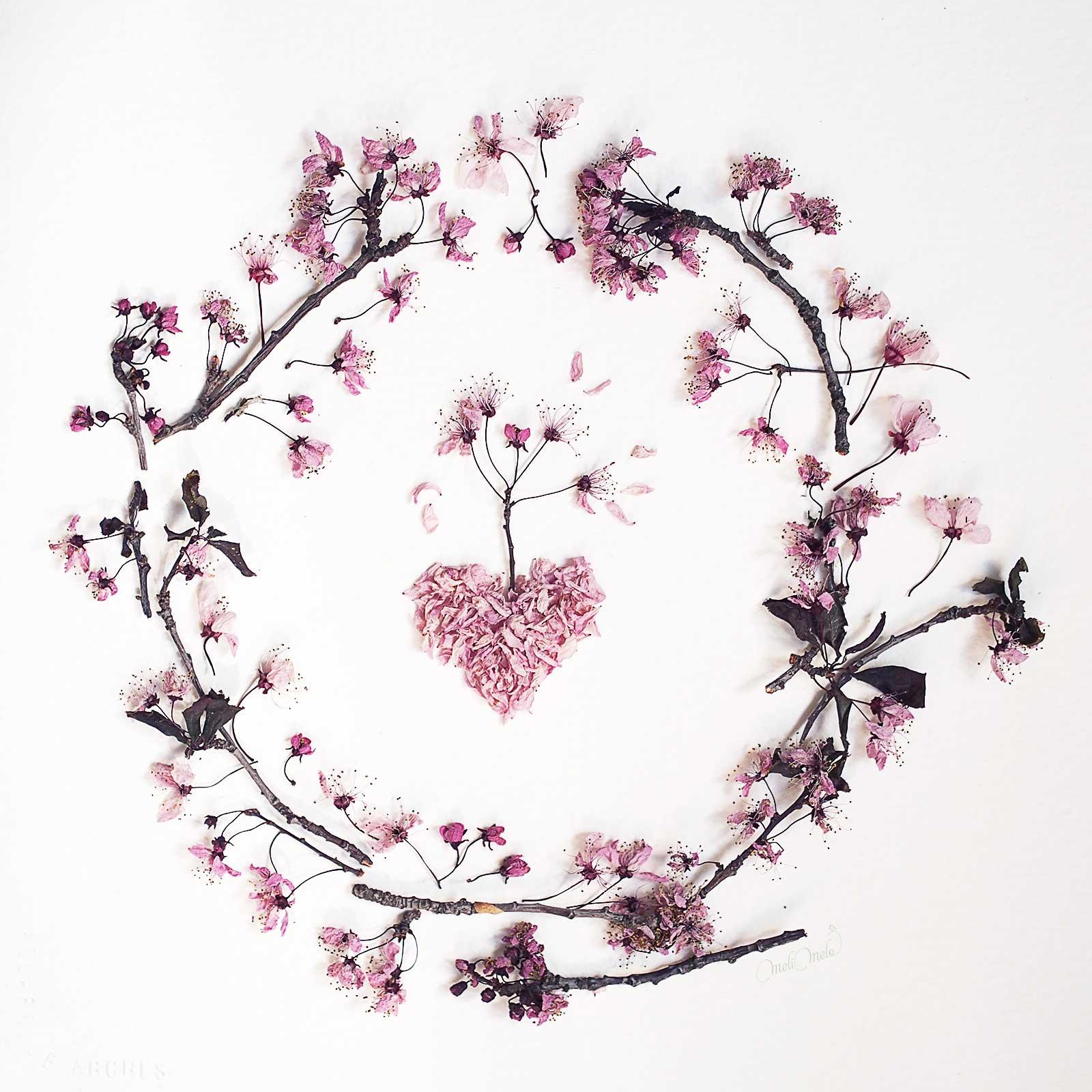 couronne fleurs prunus rose sakura love coeur laboutiquedemelimelo