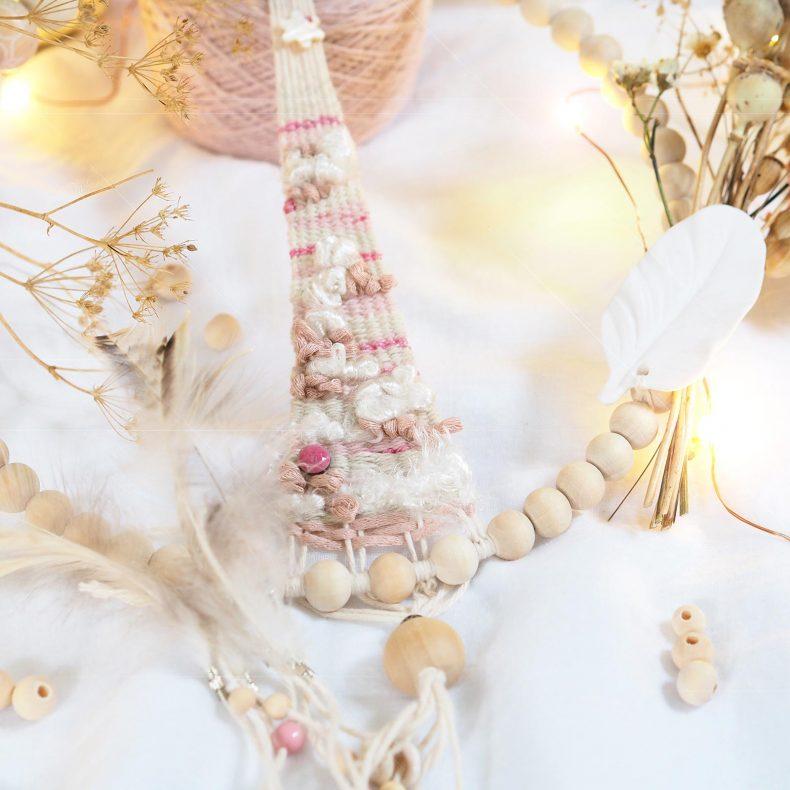 couronne-tissage-perles-attrape-reves-plume-rose-rhodonite-sweetpoom-laboutiquedemelimelo