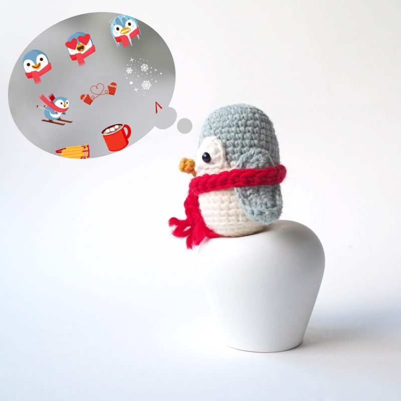 créations mignonneries crochet pingouin sticker stories instagram laboutiquedemelimelo