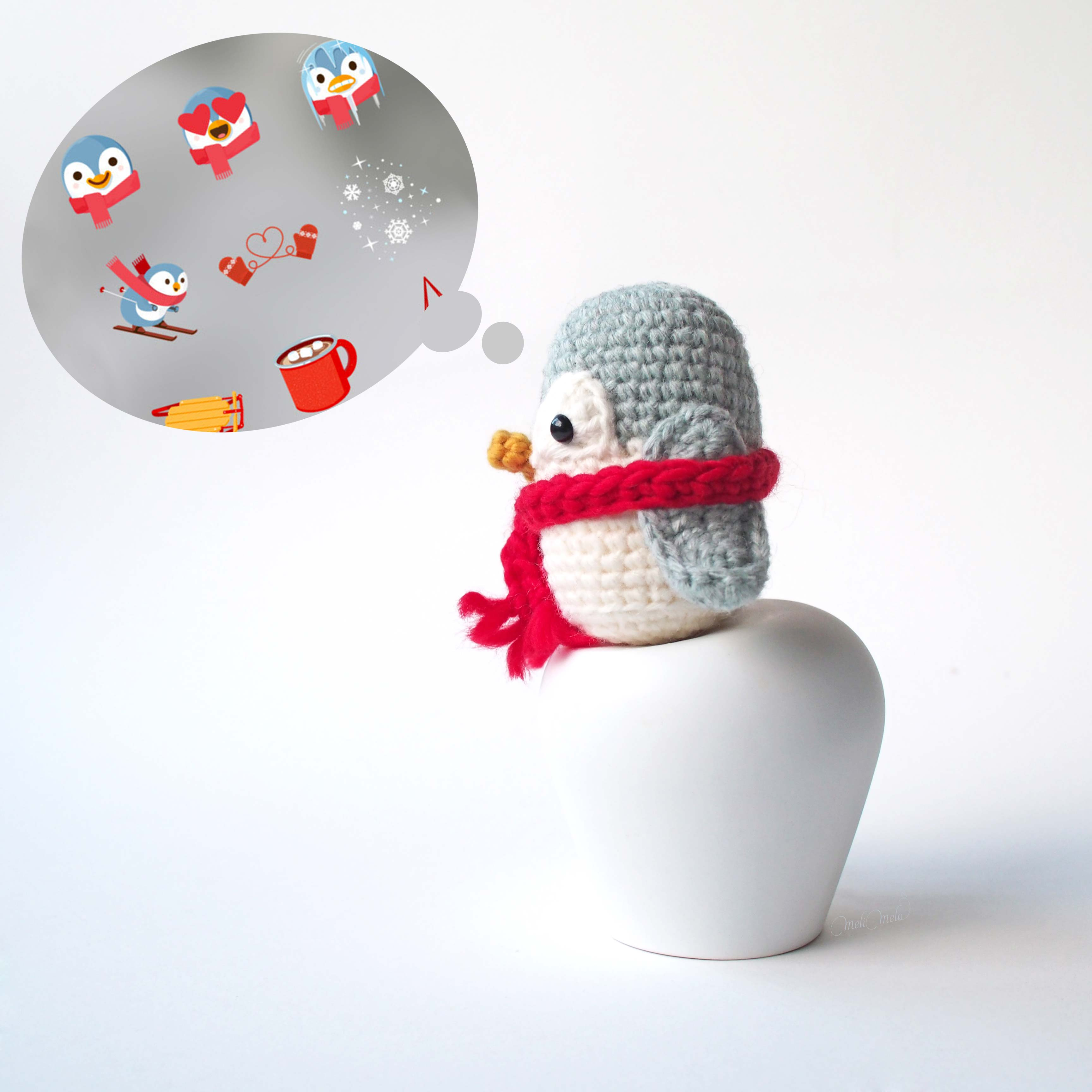 créations mignonneries crochet pingouin sticker stories instagram laboutiquedemelimelo