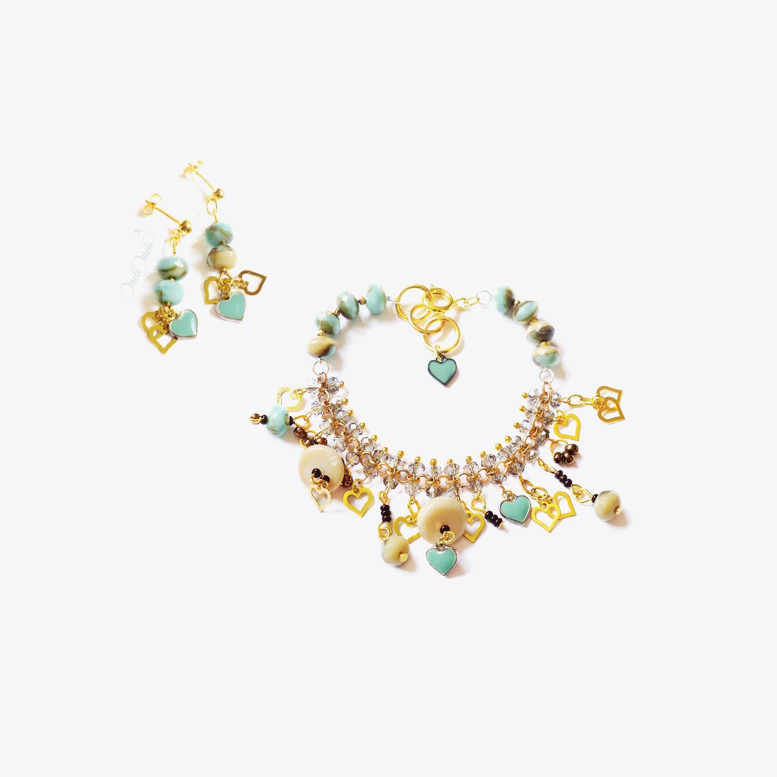 bracelet pendants oreilles cristal mint nacre laboutiquedemelimelo