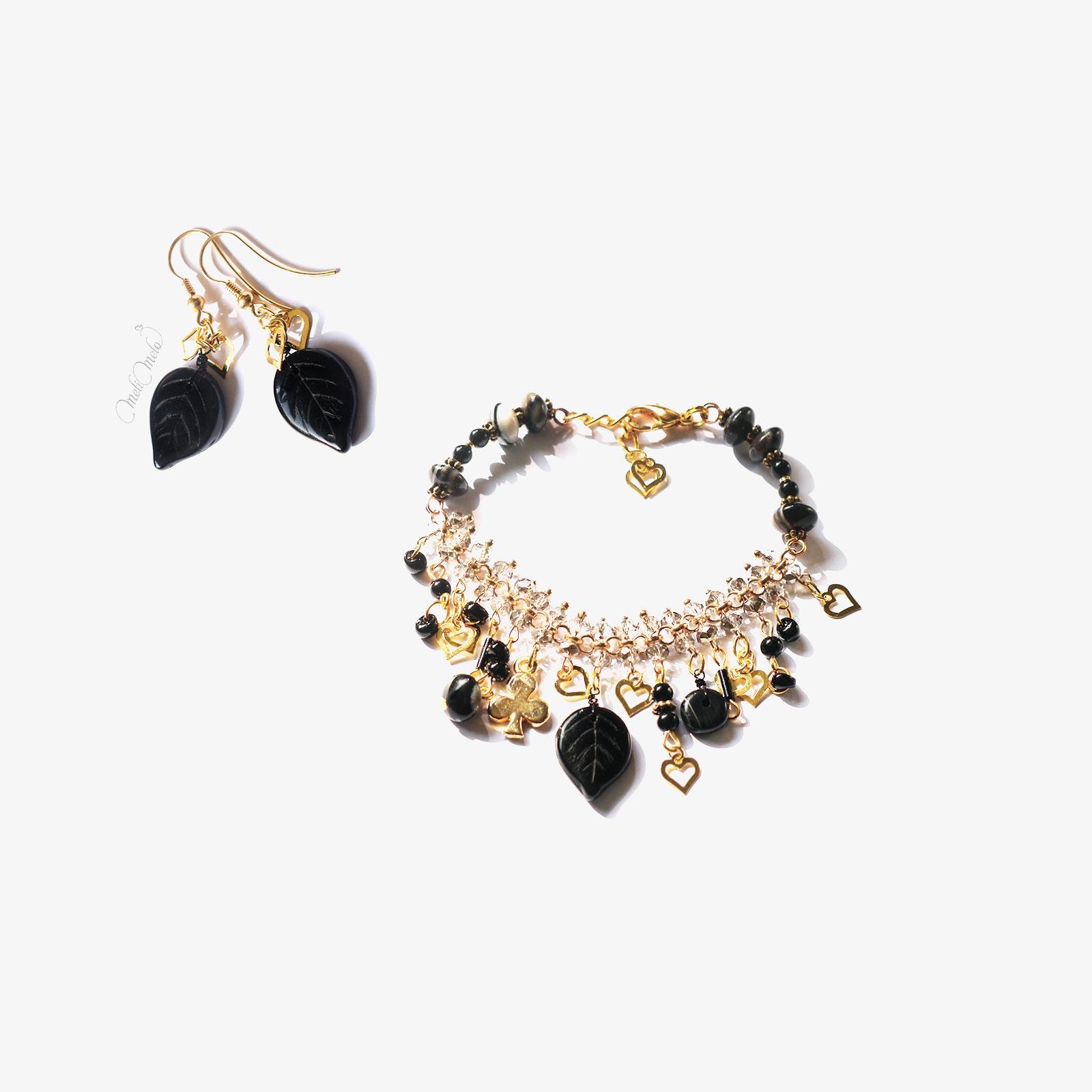 bracelet pendants oreilles cristal noir agate laboutiquedemelimelo