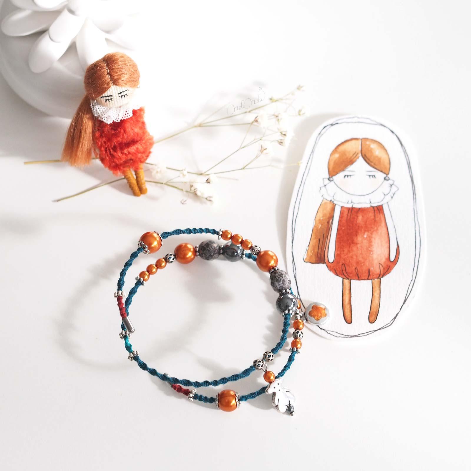 duo teal tangerine bracelet Cristal Swarovski nacré rose Hématite broche poupée laboutiquedemelimelo