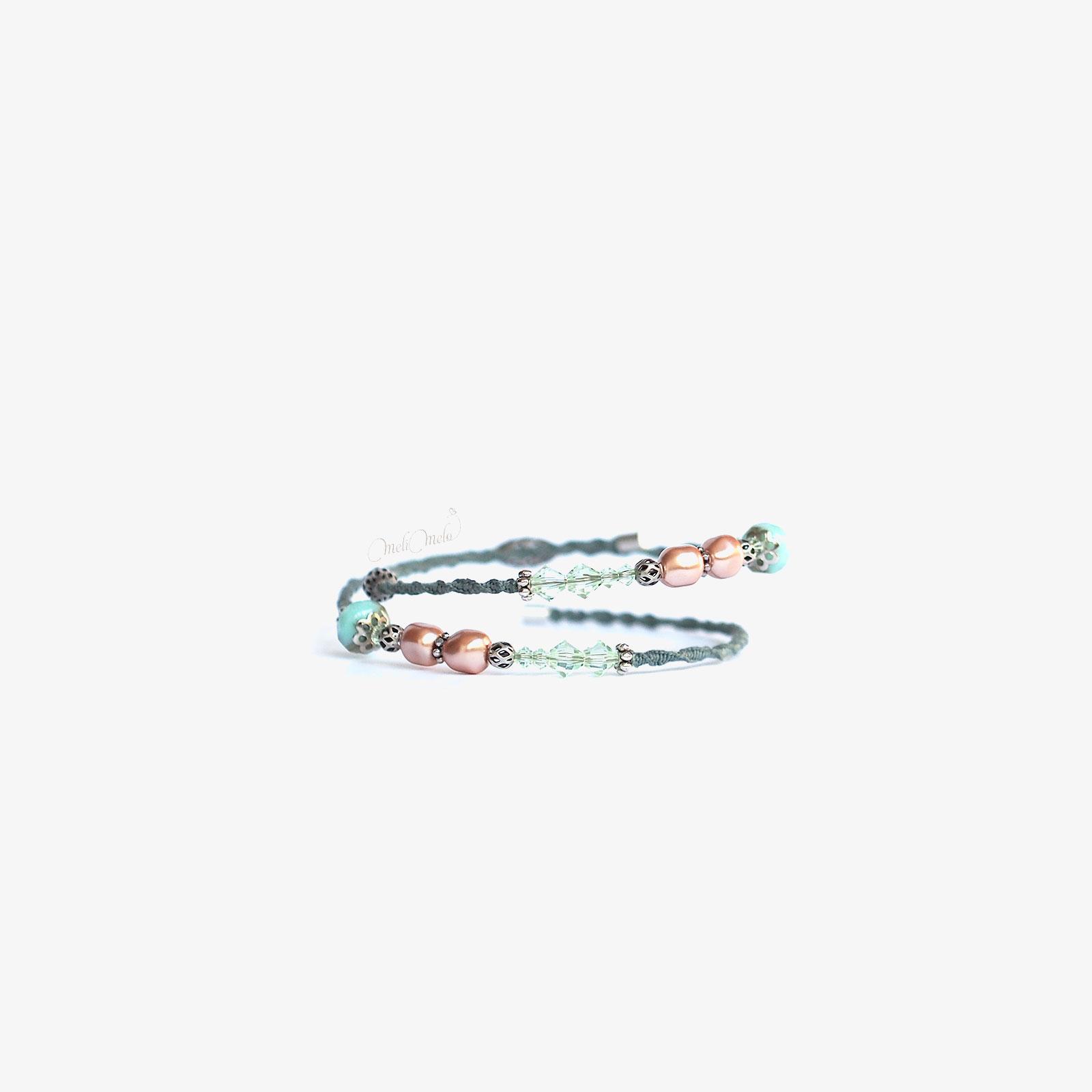 bracelet Cristal rose chrysolite Swarovski nacré laboutiquedemelimelo