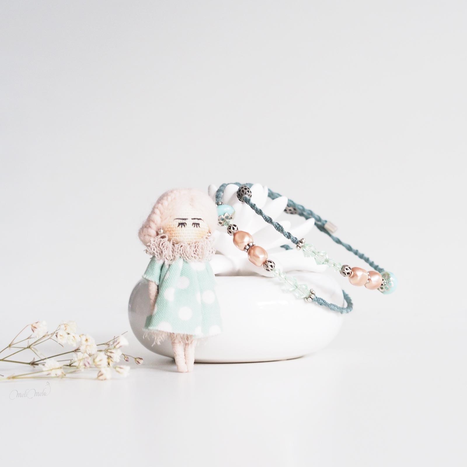 duo rose chrysolite bracelet Swarovski nacré broche poupée laboutiquedemelimelo