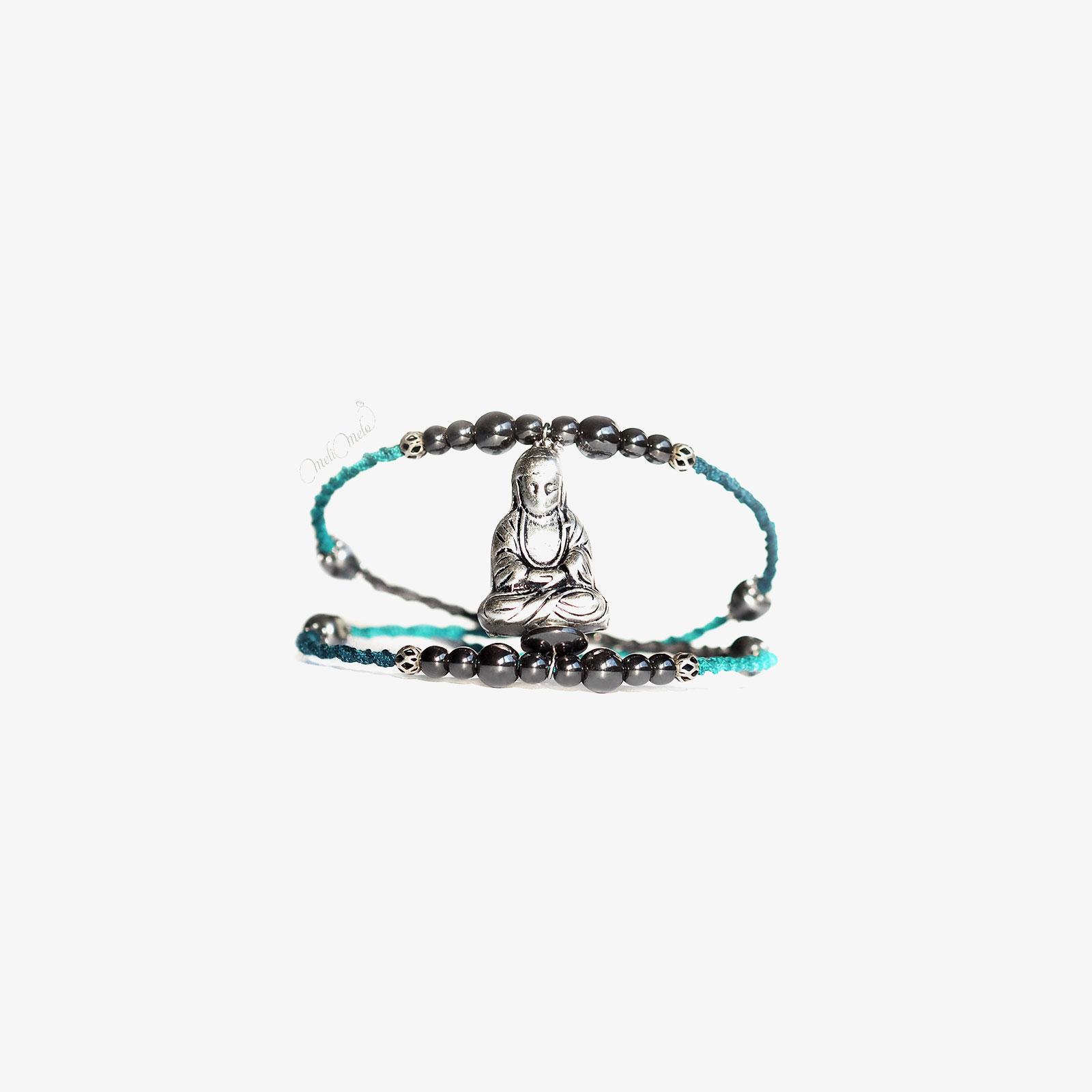 jonc Bouddha tressé main turquoise teal hématite laboutiquedemelimelo