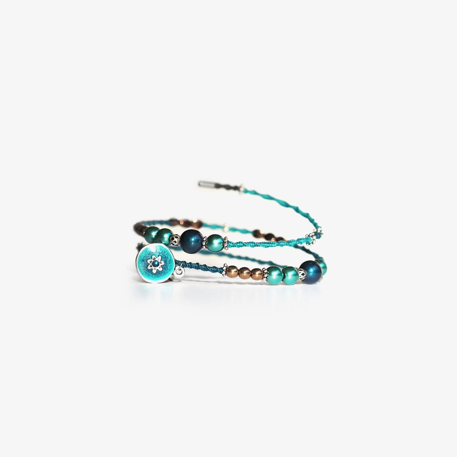 bracelet tressé main cristal Swarovski turquoise teal laboutiquedemelimelo