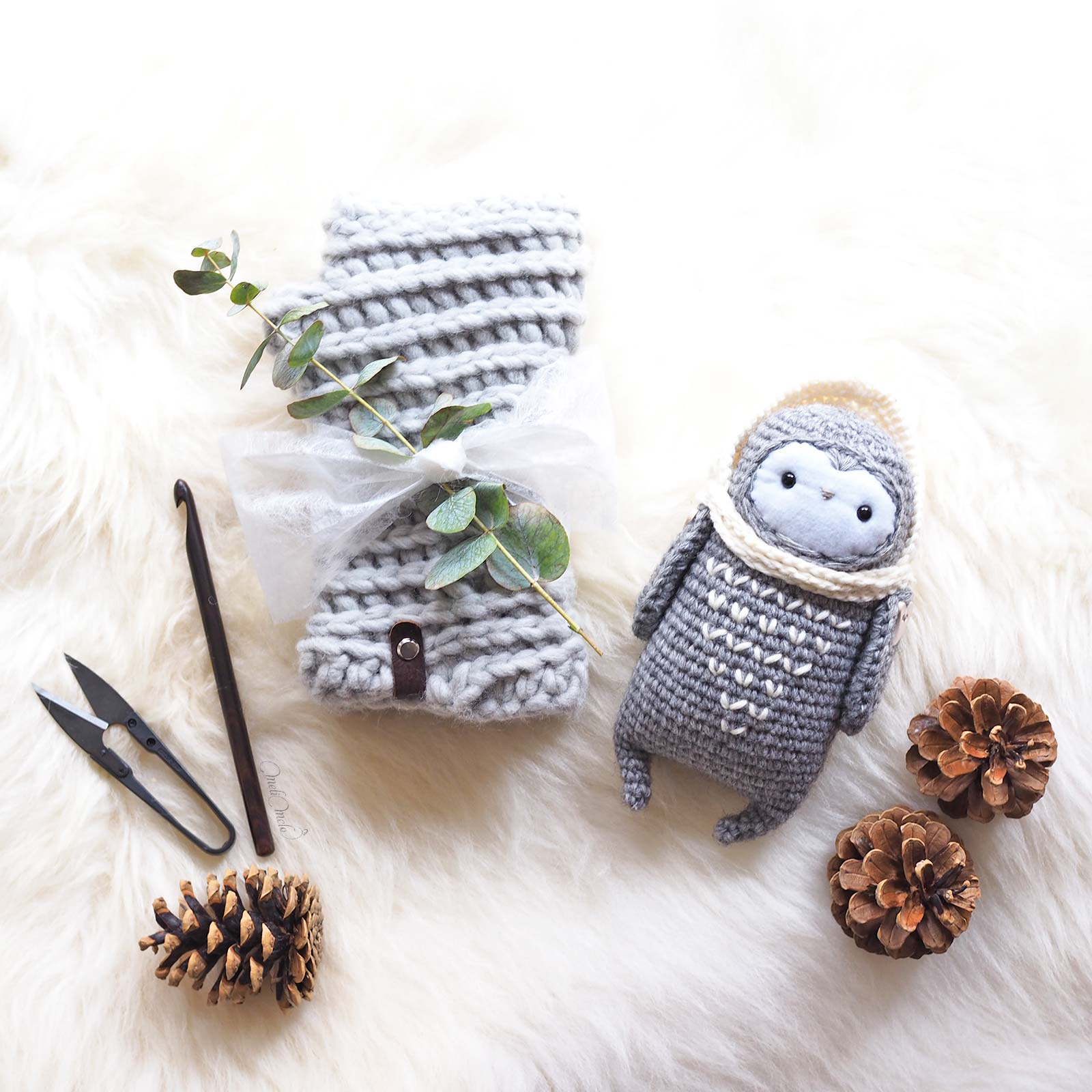 cadeau hiver Noël mitaines chouette lutine laine rico design we are knitters wool and the gang laboutiquedemelimelo