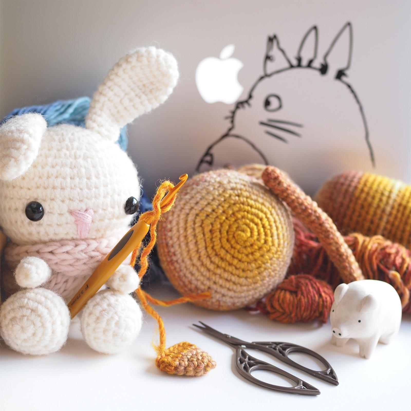 crochet amigurumis lapin spring bunny Totoro laboutiquedemelimelo