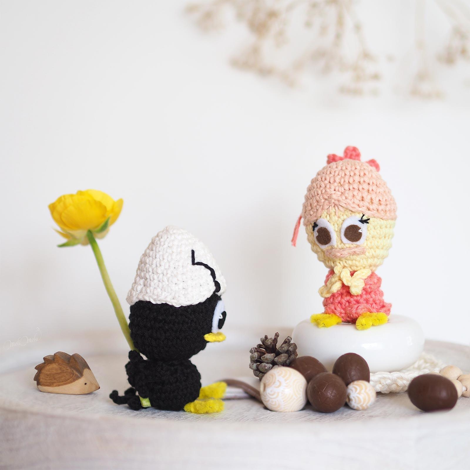 crochet poussins Calimero Priscilla amoureux pâques laboutiquedemelimelo