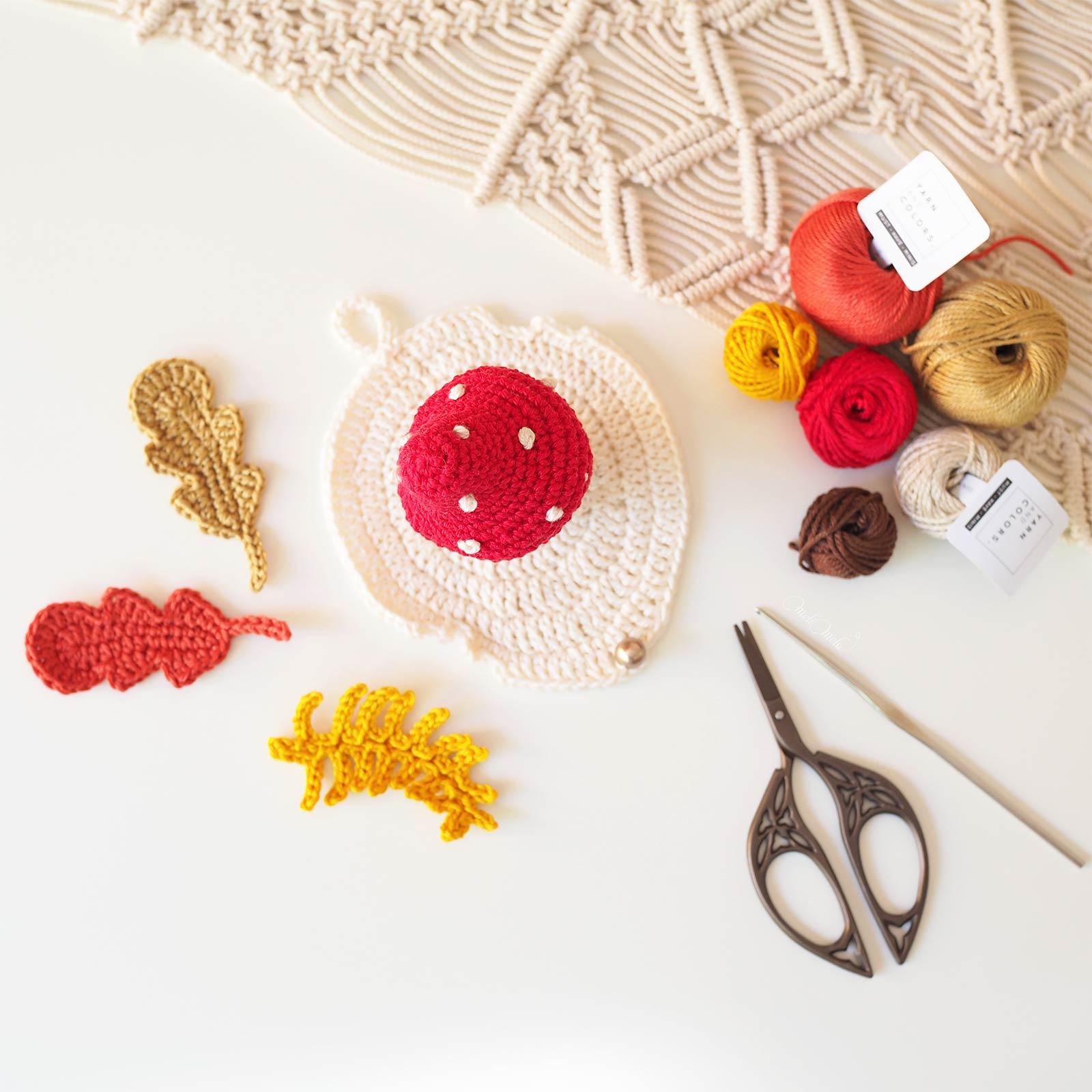 crochet-mushroom-champignon-amanite-feuilles-automne-coton-yarnandcolors-laboutiquedemelimelo