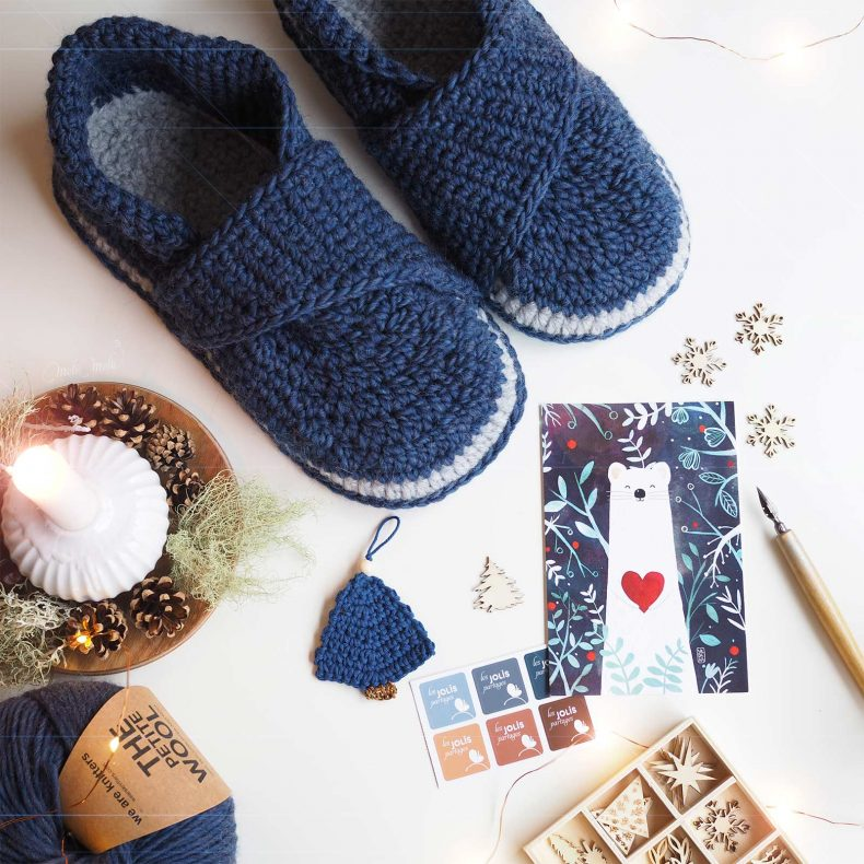 crochet chaussons laine loutre slippers mamachee wool blue boutique melimelo