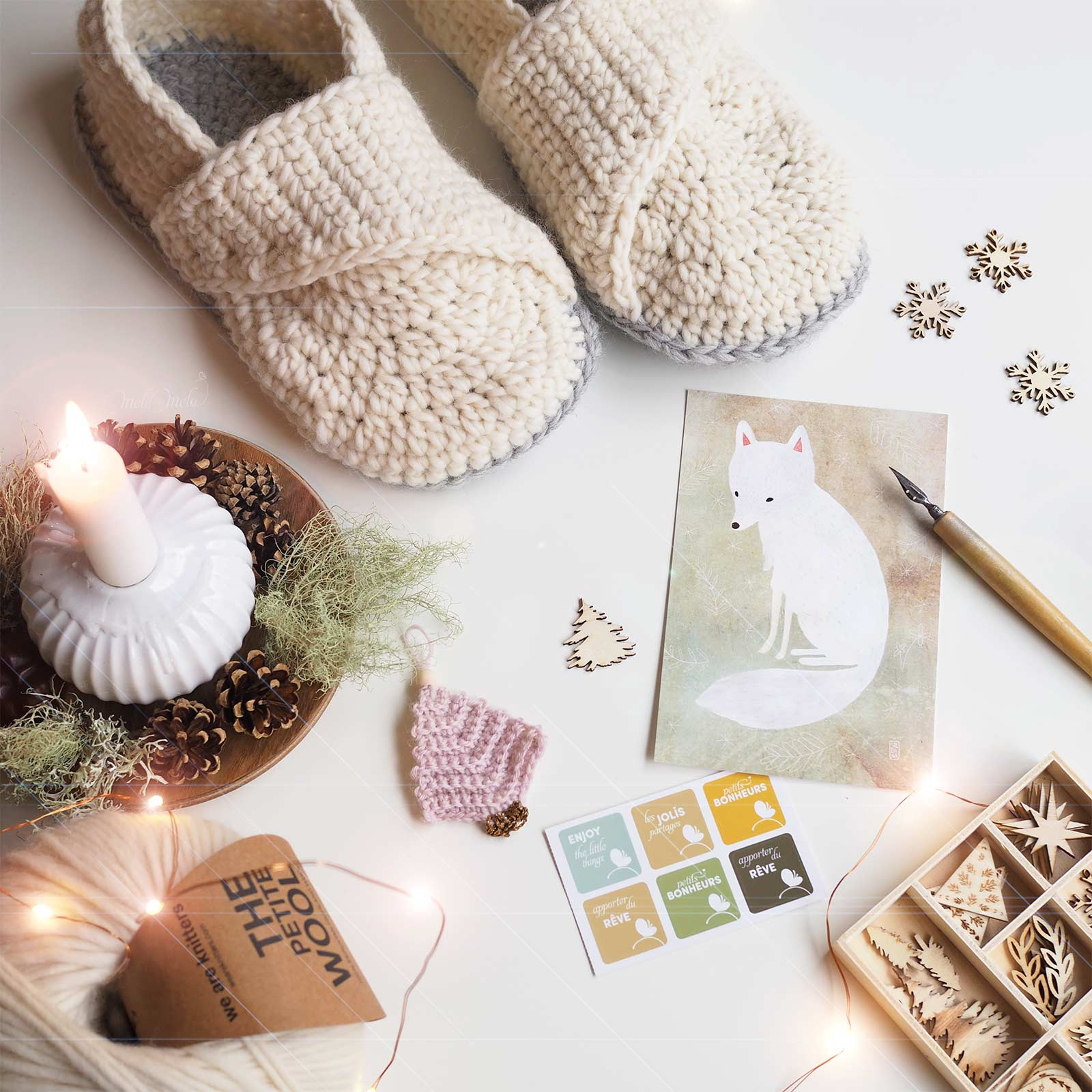 crochet chaussons laine slippers mamachee renard polaire wool white fox boutique melimelo
