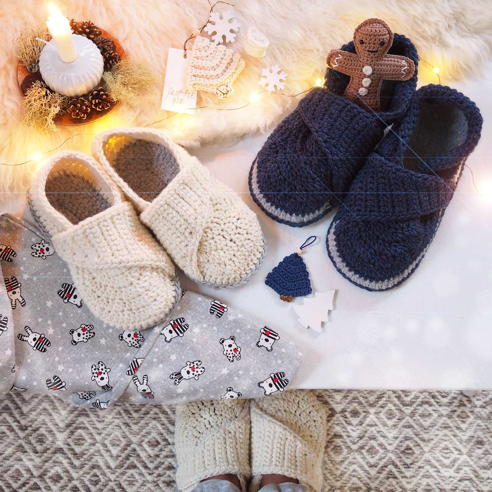 crochet chaussons laine slippers wool mamachee boutique melimelo