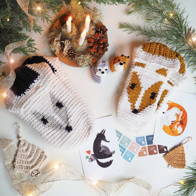 crochet chaussons renard loup cadeaux noel slippers fox wolf christmas gifts boutique melimelo