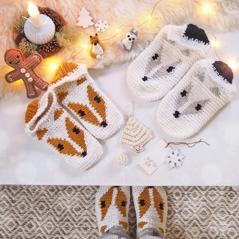 crochet chaussons renard loup slippers fox wolf boutique melimelo