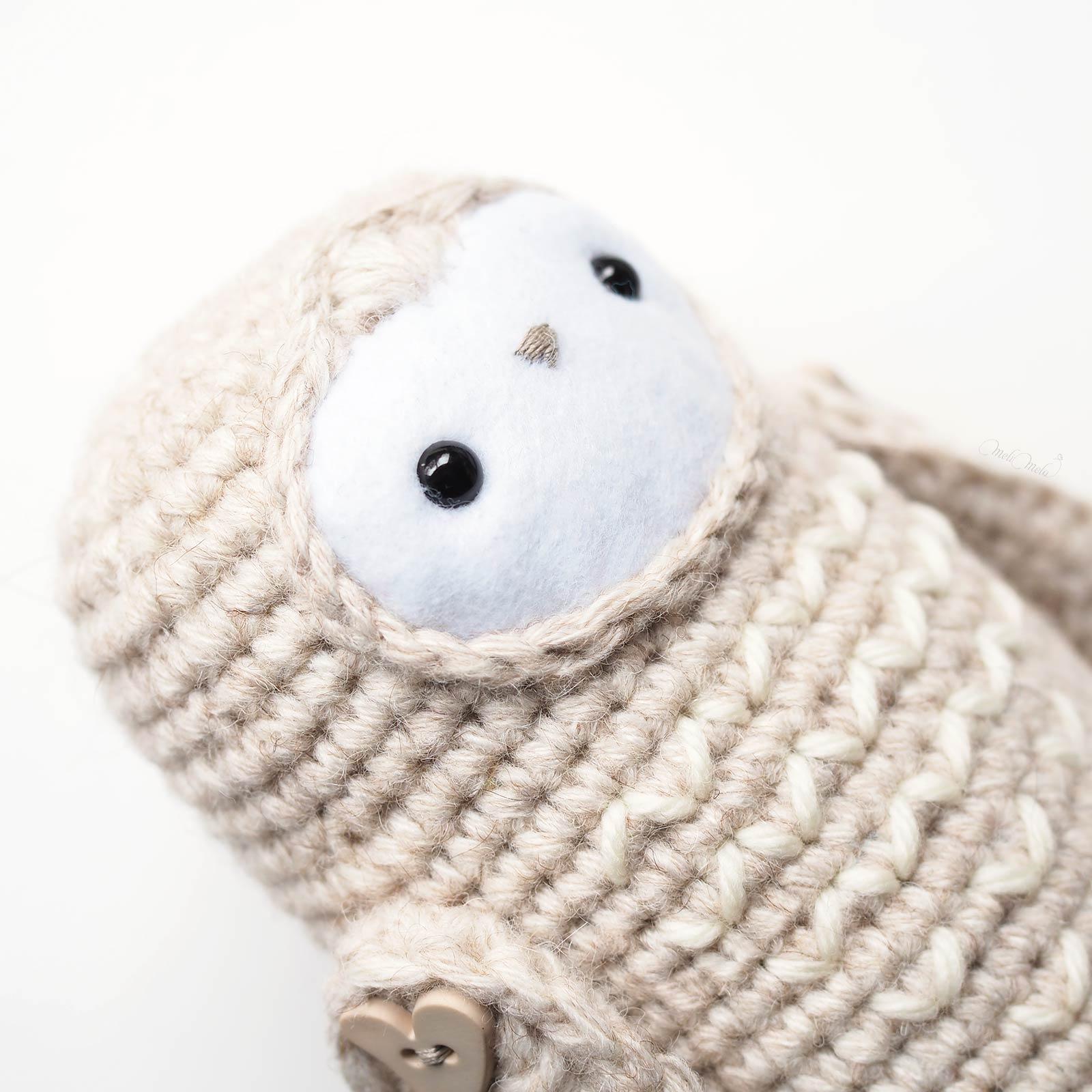 crochet chouette détails figure laboutiquedemelimelo