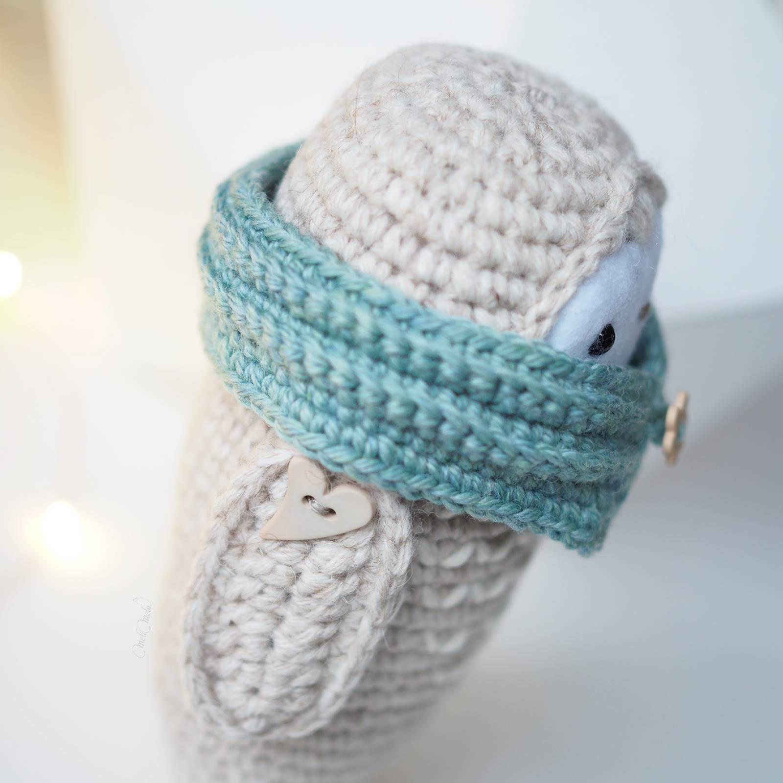 crochet chouette détail snood laine merino weareknitters aile coeur laboutiquedemelimelo
