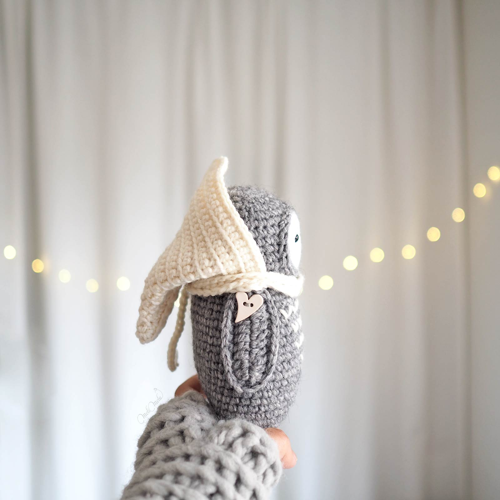 chouette lutine ailes coeur au crochet capuche laine little owlet owl laboutiquedemelimelo