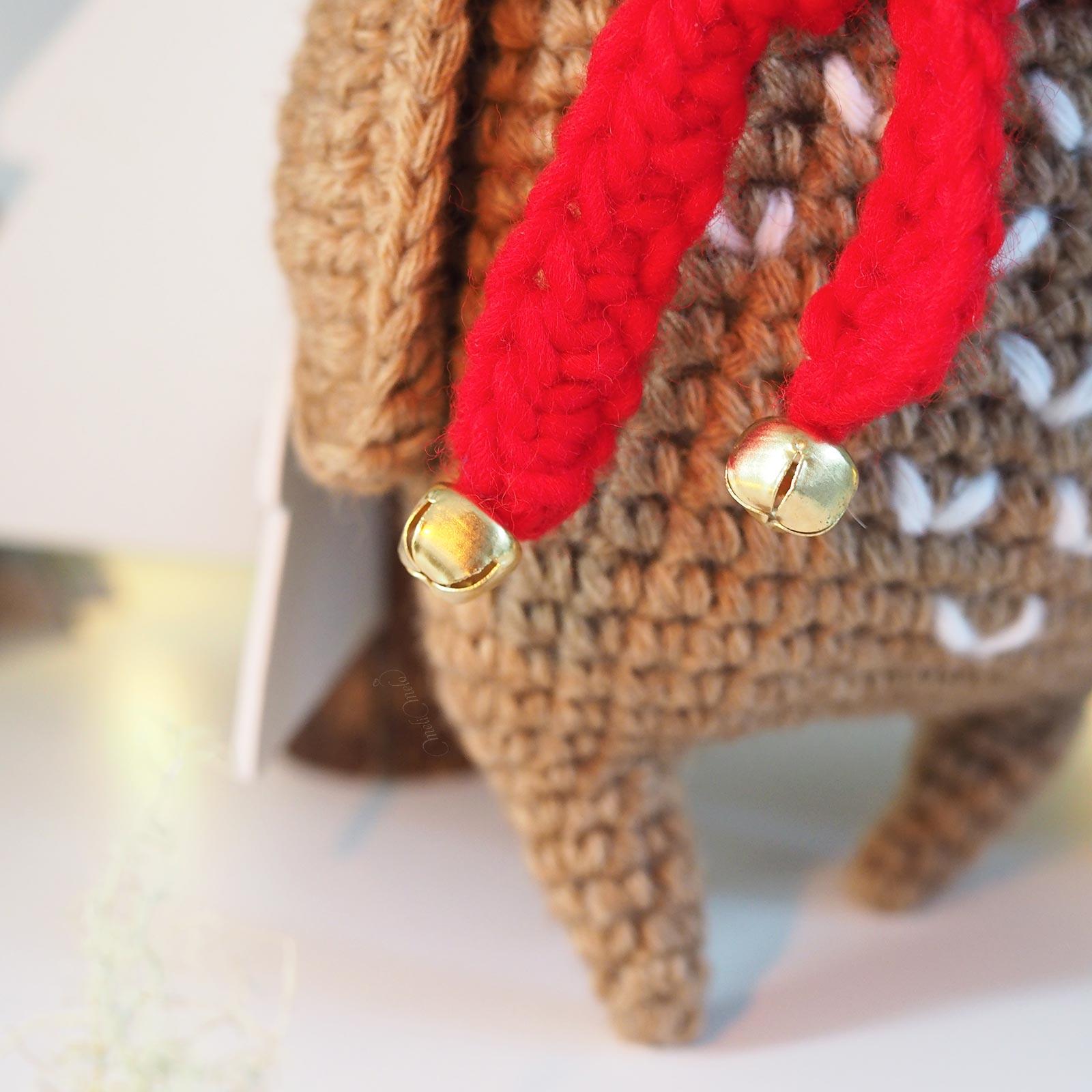 écharpe rouge clochette crochet chouette Noël boutique MeliMelo