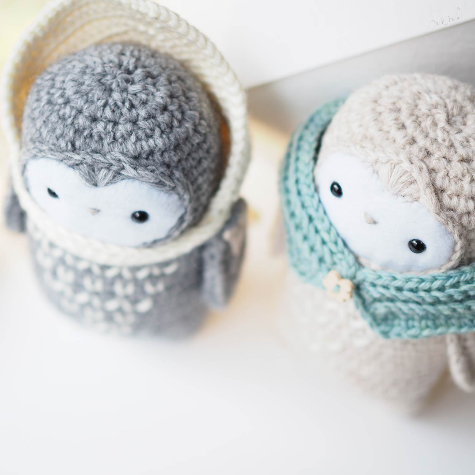 crochet chouettes hiver laine alpaga détail têtes laboutiquedemelimelo