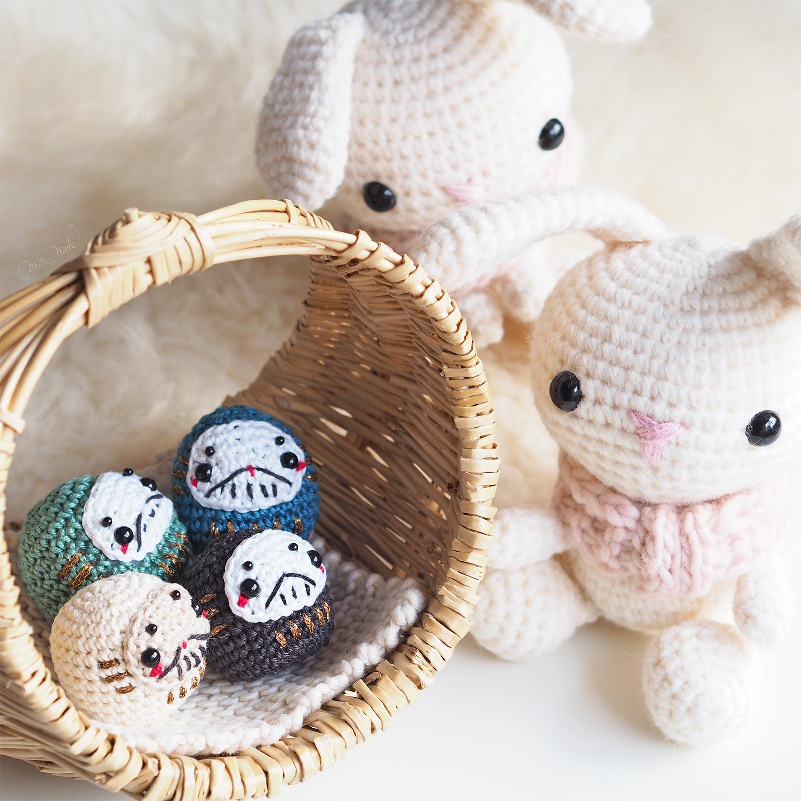 crochet Daruma bunny Japon amigurumi Boutique MeliMelo