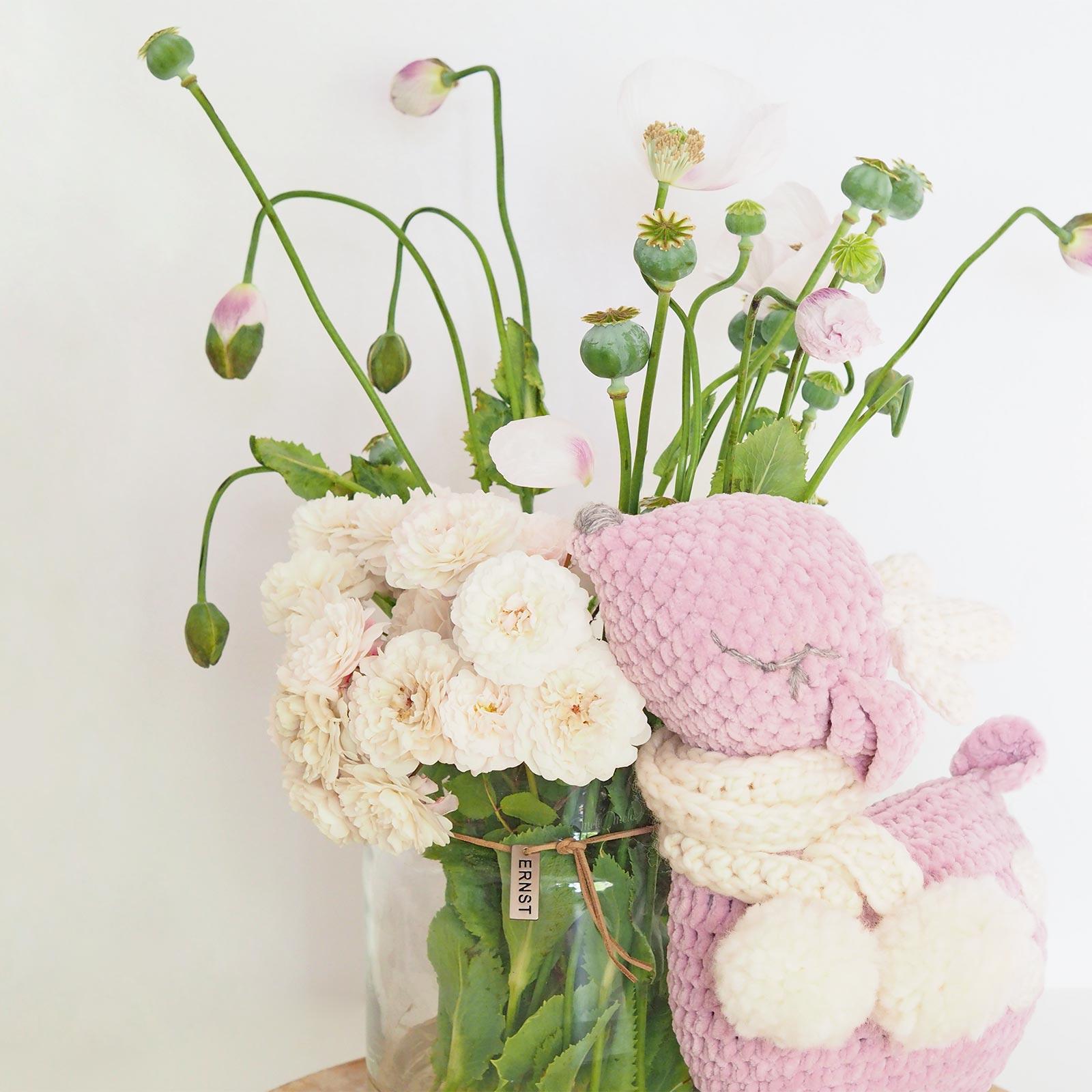 crochet doudou biche rose amigurumi deer bouquet pavots papaver laboutiquedemelimelo