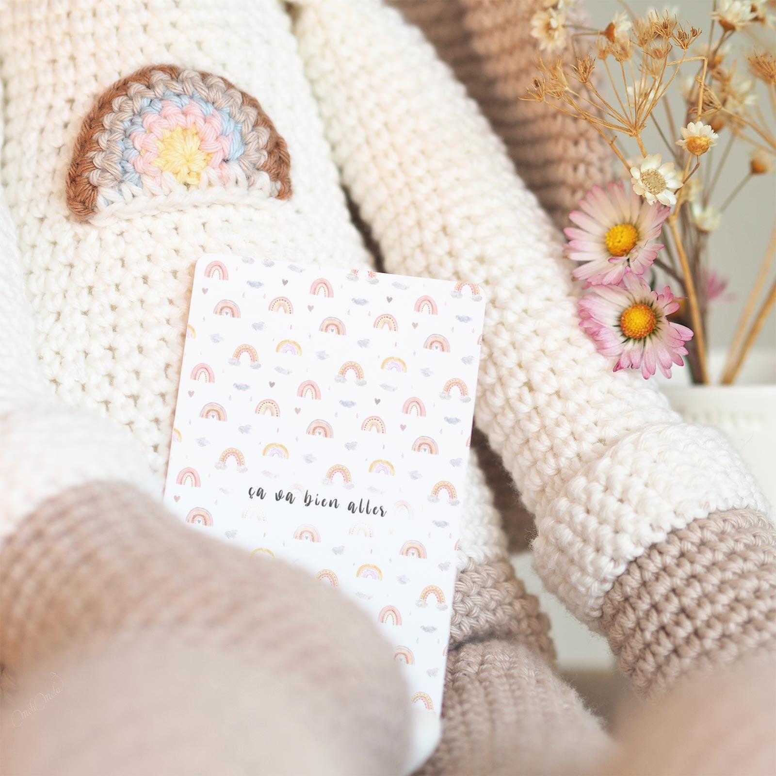 crochet doudou lapin XL arc-en-ciel rainbow amigurumi Boutique MeliMelo