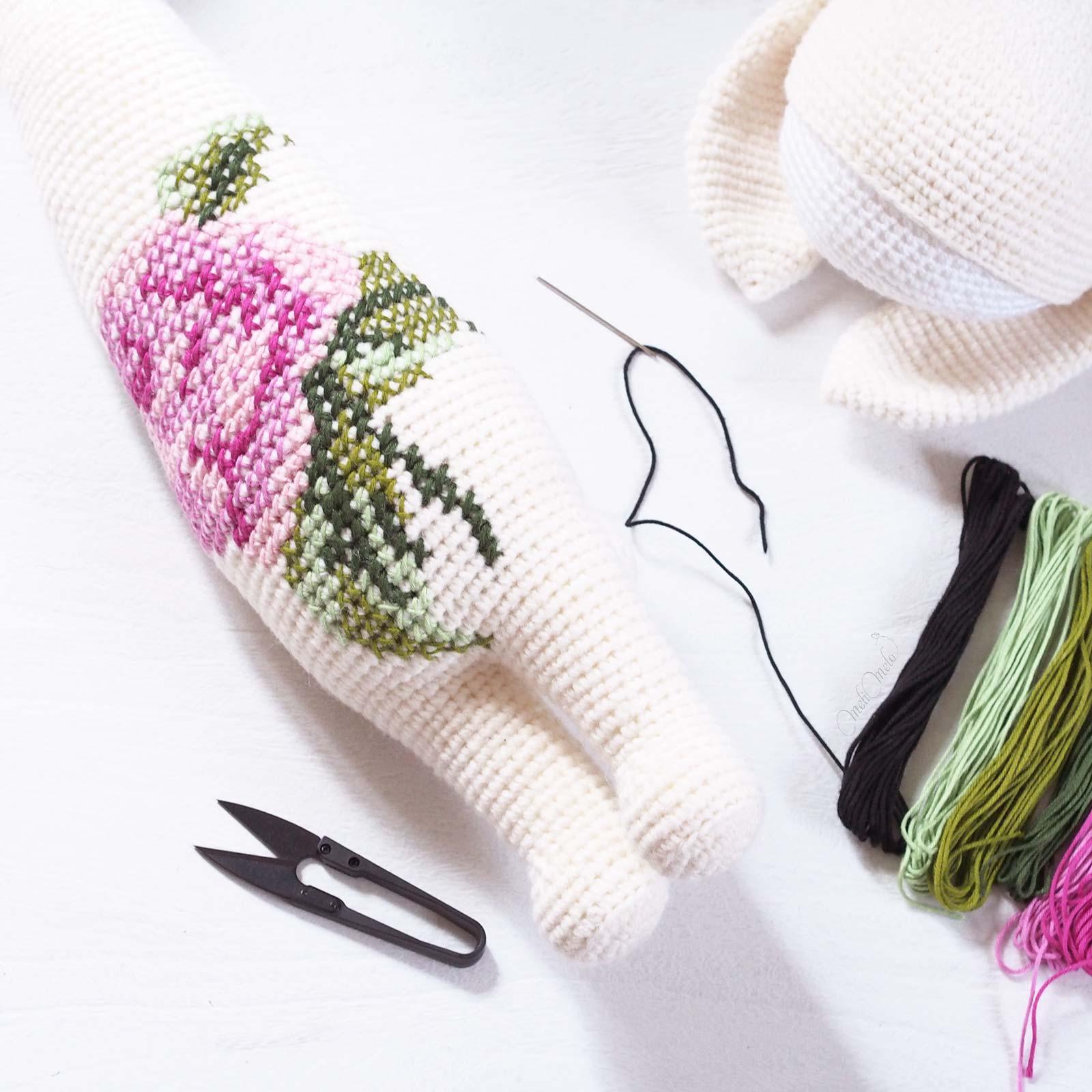 crochet Rita bunny Lalylala rose laine alpaca chunky ricodesign laboutiquedemelimelo