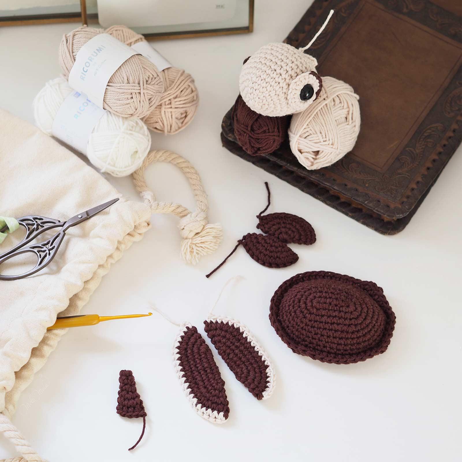 crochet-encours-tortue-amigurumiwildlife-ricorumi-coton-laboutiquedemelimelo