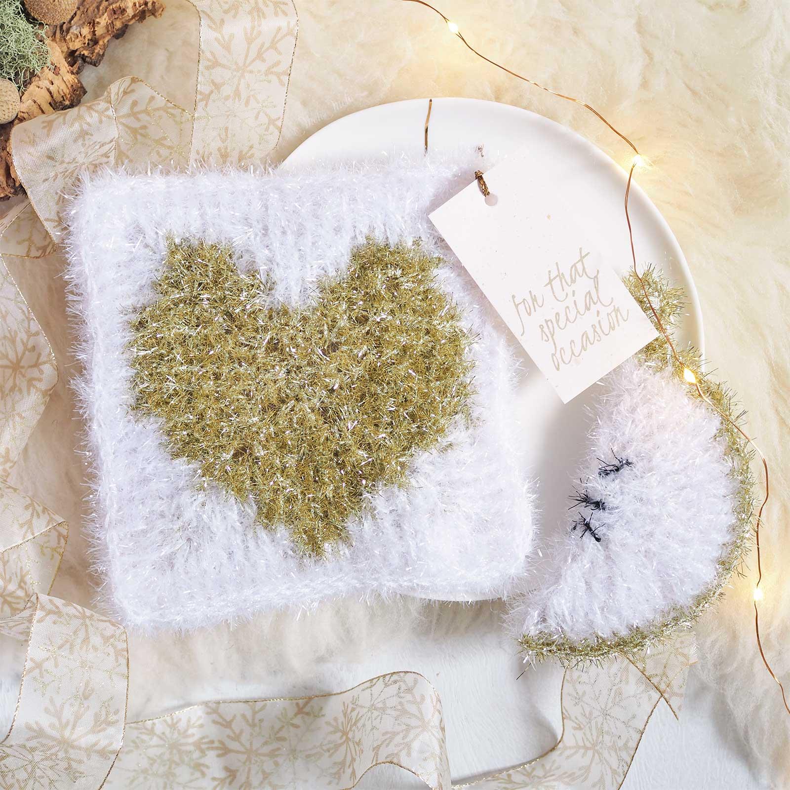 crochet éponge tawashi coeur blanc or nouvel an laboutiquedemelimelo