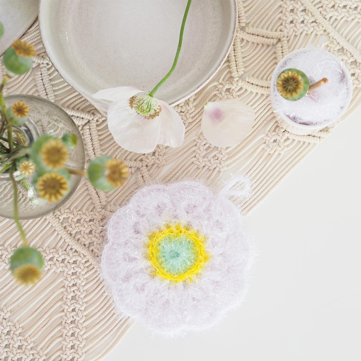 crochet éponge tawashi fleur pavot creative bubble ricodesign laboutiquedemelimelo