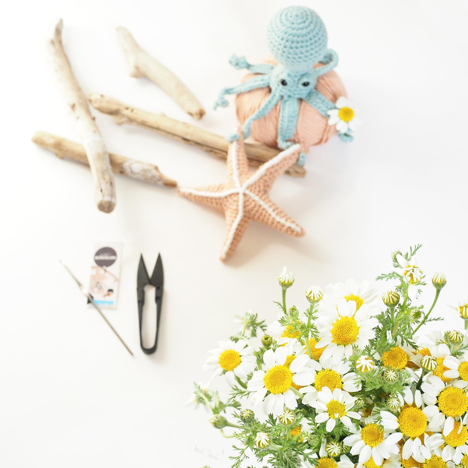 crochet poulpe étoile de mer bouquet marguerites laboutiquedemelimelo