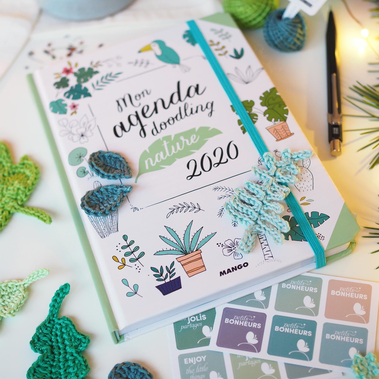 crochet feuille agenda doodling nature 2020 Editions Mango boutique melimelo