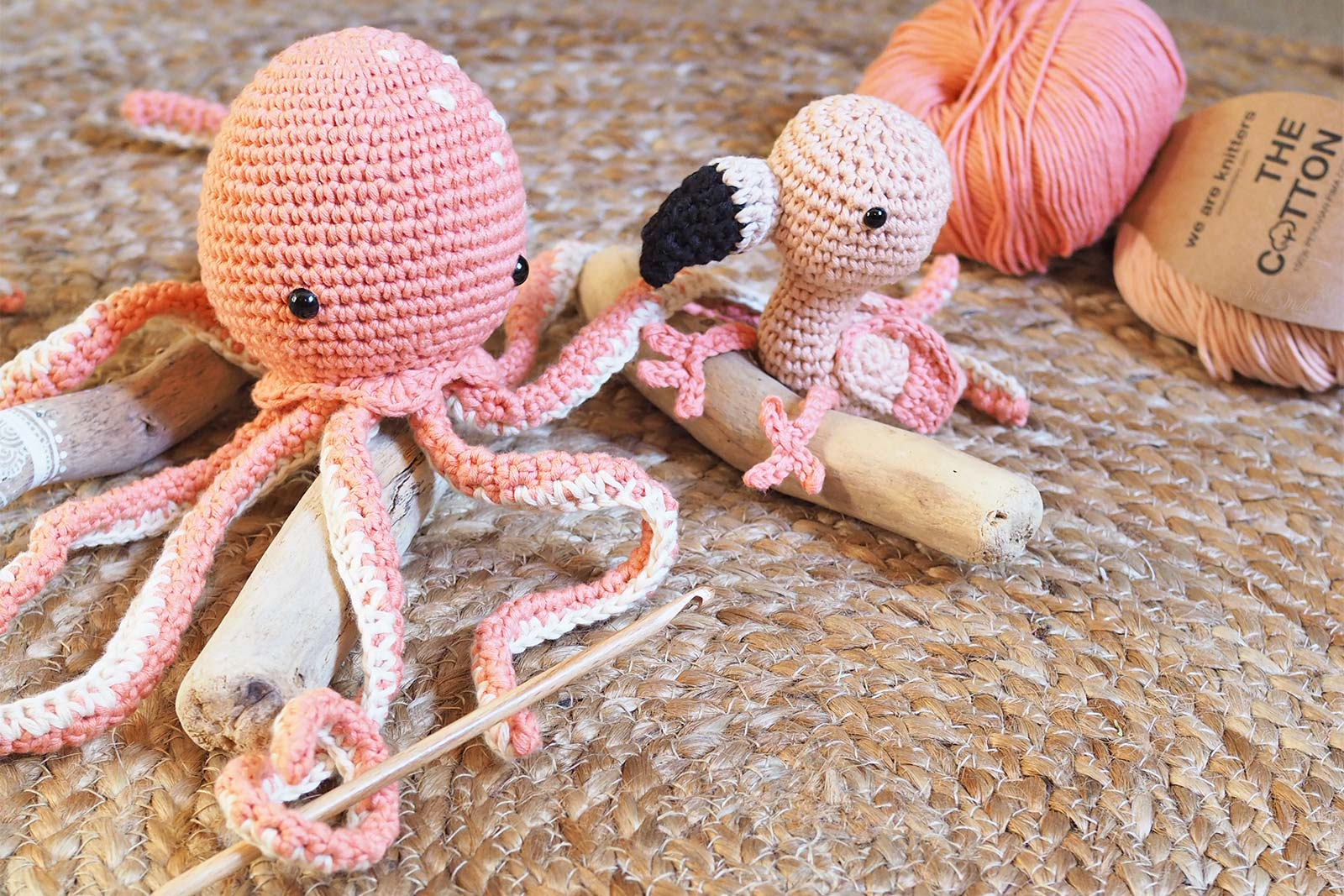 saumon coton Pima we are knitters crochet flamant rose octopus pieuvre poulpe laboutiquedemelimelo